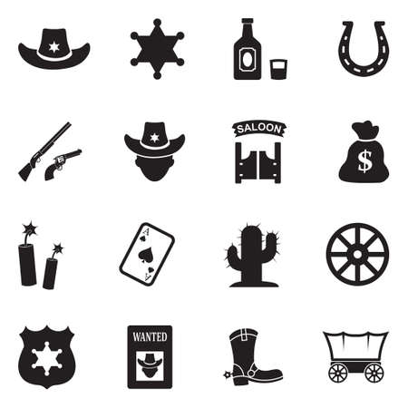 Cowboy Icons. Black Flat Design. Vector Illustration.