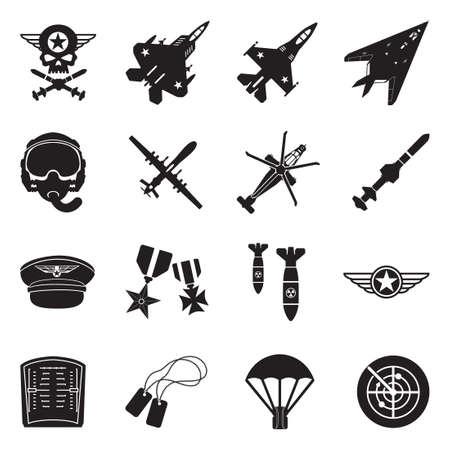 Air Force Icons. Black Flat Design. Vector Illustration.