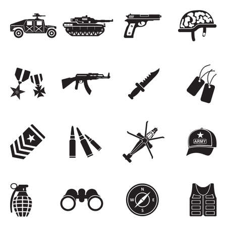 Army Icons. Black Flat Design. Vector Illustration. Vettoriali