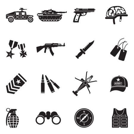 Army Icons. Black Flat Design. Vector Illustration. Illustration