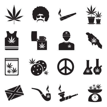 Marijuana Icons. Black Flat Design. Vector Illustration.