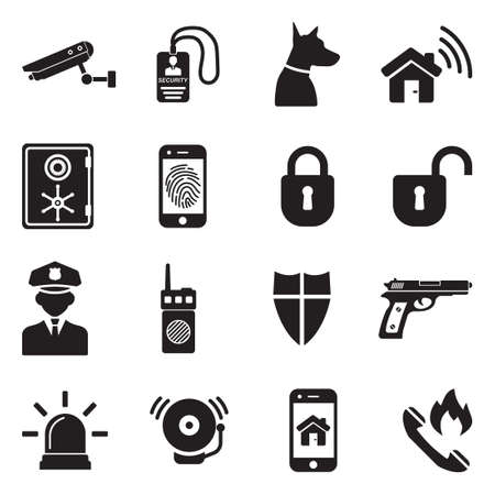 Security Icons. Black Flat Design. Vector Illustration.