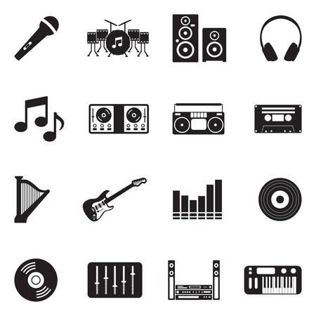 Music Icons. Black Flat Design. Vector Illustration. Illustration