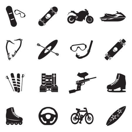 Extreme Sports Icons. Black Flat Design. Vector Illustration.