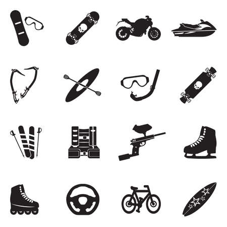 Extreme Sports Icons. Black Flat Design. Vector Illustration.
