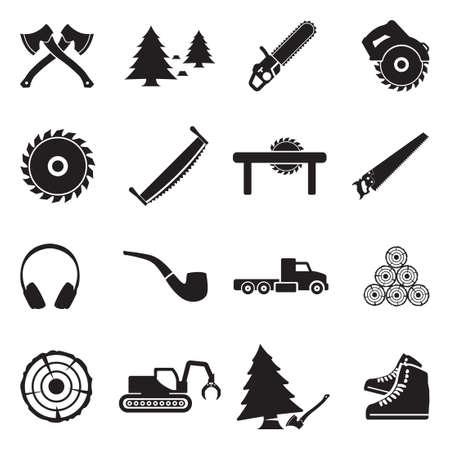 Lumberjack Icons. Black Flat Design. Vector Illustration. Ilustração