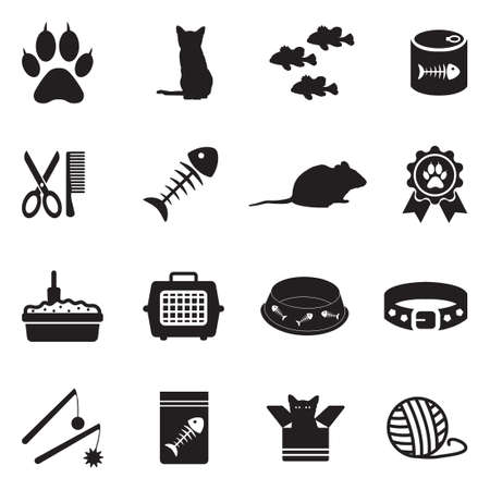 Cat Icons. Black Flat Design. Vector Illustration. Иллюстрация