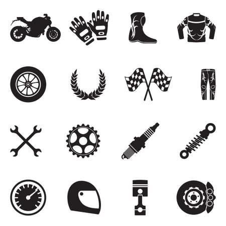 Motorcycle Icons. Black Flat Design. Vector Illustration.