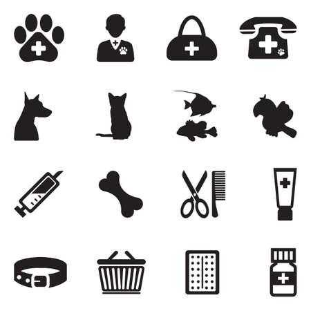 Veterinary Icons. Black Flat Design. Vector Illustration. Çizim