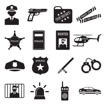 Police Icons. Black Flat Design. Vector Illustration. Illustration