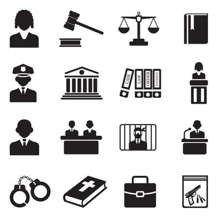 Law, Judge and Court Icons. Black Flat Design. Vector Illustration.