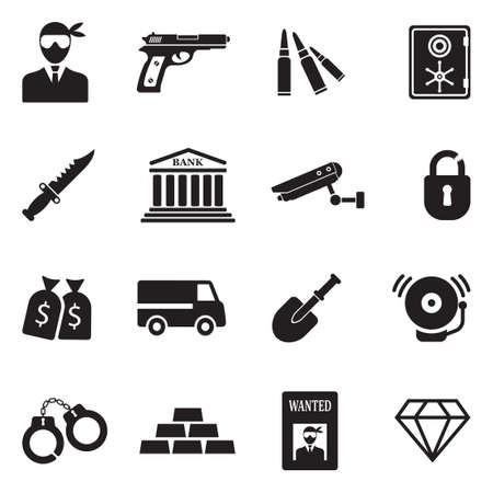 Robbery And Crime Icons. Black Flat Design. Vector Illustration.