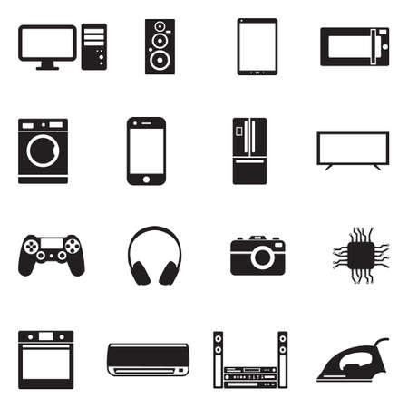 Modern Technology Icons. Black Flat Design. Vector Illustration.
