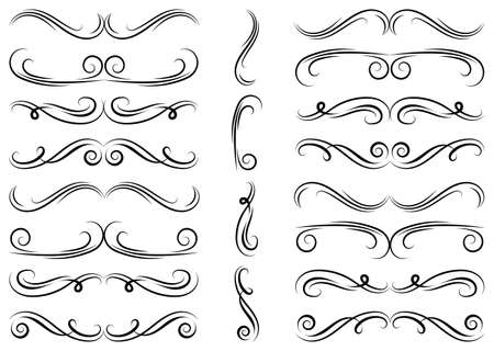 Calligraphic design elements includes Dividers, borders and swirls. Set of curls and scrolls for wall decoration, books, cards and tattoos.