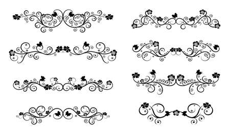 Set of decorative floral borders vector illustration