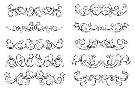 Set of curls and scrolls. Calligraphic dividers with stars. Decorative design border elements for frames and books. Elegant swirl vector illustration.