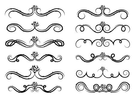 Set of curls and scrolls with roses Vector illustration