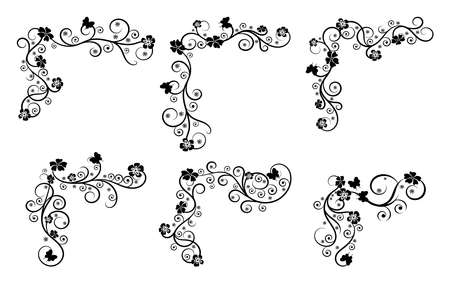 Vintage floral swirl frame set. Abstract black and white ornate corners. Vector illustration with flowers and butterflies.