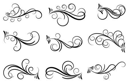 Black and elegant swirls collection. Set of curls and scrolls for wall decoration and tattoos vector illustration. Çizim