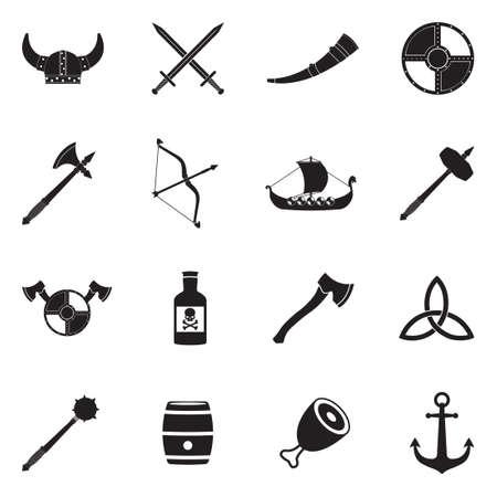 Vikings icons black flat design vector illustration.