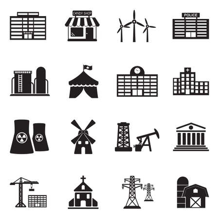 Buildings and institutions icons black flat design vector illustration.