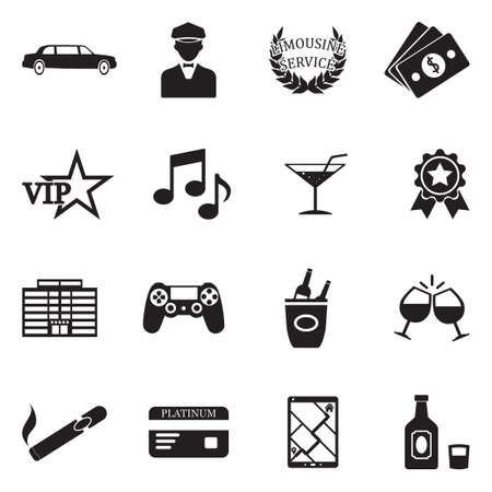 Limousine icons black flat design vector illustration. Illustration