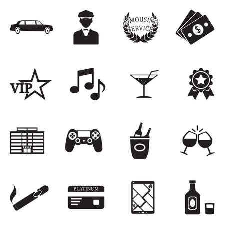 Limousine icons black flat design vector illustration. Stock Illustratie