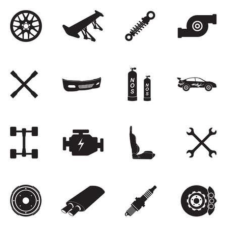 ●カーチューニングアイコンブラックフラットデザインベクトルイラスト。