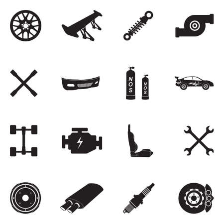 Car tuning icons black flat design vector illustration. Ilustrace