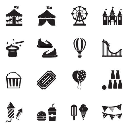 Amusement park icons black flat design vector illustration.