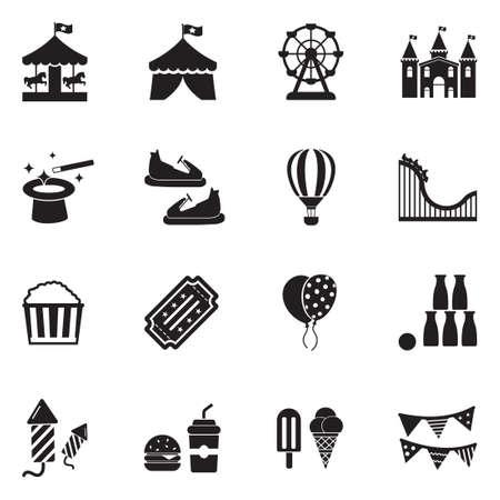 Los iconos del parque de atracciones ennegrecen el ejemplo plano del vector del diseño. Ilustración de vector