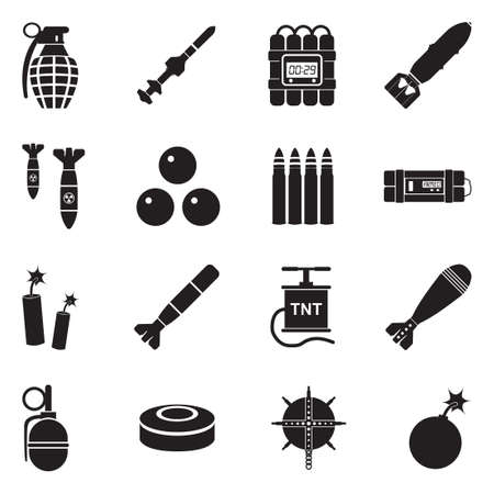 Bombs and explosives icons black flat design vector illustration. Vettoriali