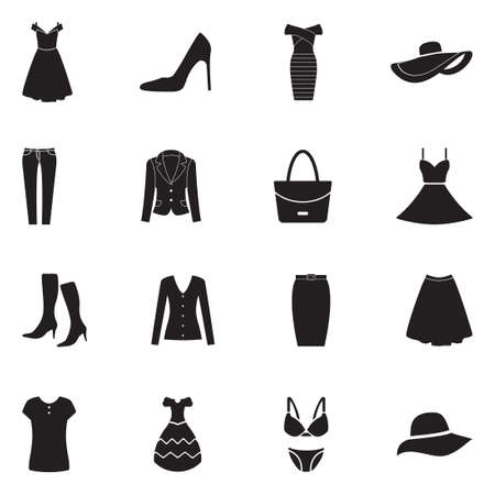 Womans clothing icons black flat design vector illustration.