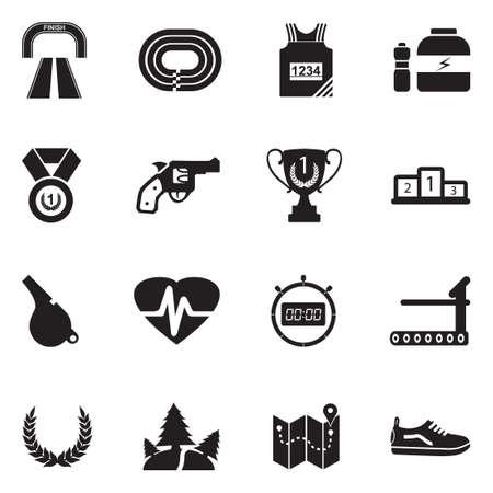 Running icons black flat design vector illustration.