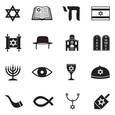 Judaism icons black flat design vector illustration.