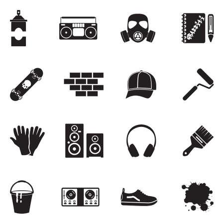 Graffiti icons black flat design vector illustration.  イラスト・ベクター素材