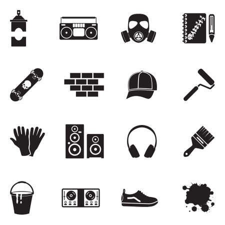 Graffiti icons black flat design vector illustration. Vettoriali