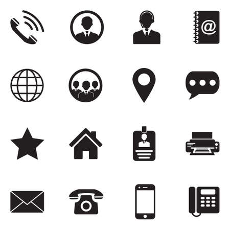 Contact icons black flat design vector illustration.