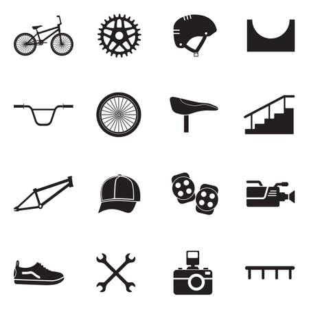 BMX icons black flat design vector illustration. Ilustração