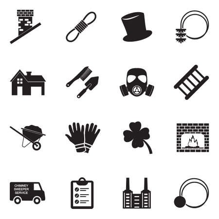 Chimney Sweeper Icons. Black Flat Design. Vector Illustration. 일러스트