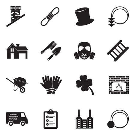 Chimney Sweeper Icons. Black Flat Design. Vector Illustration. Vettoriali