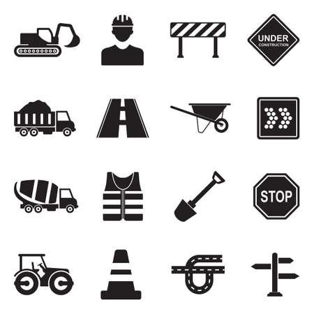 Budowa dróg ikony w ilustracji czarny Płaska konstrukcja. Ilustracje wektorowe