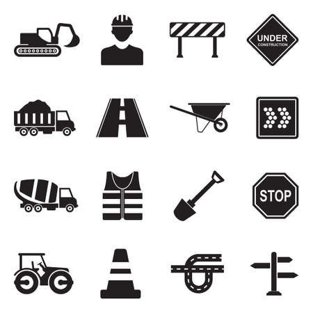Road Construction icons in black flat design illustration.