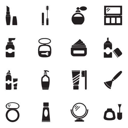 Cosmetics icons in black flat design illustration.