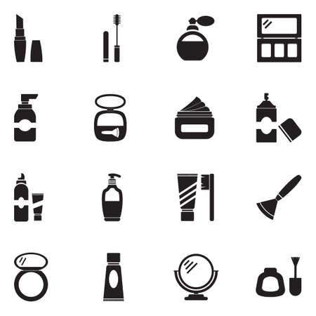 Cosmetics icons in black flat design illustration.