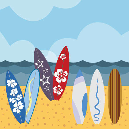 Surfing scene vector illustration. Various surf boards on tropical beach.Summer beach scene with colorful surfboard set.