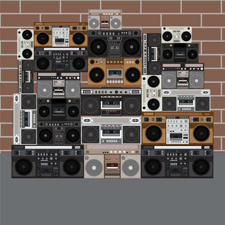 Boombox wall vector illustration background. Illustration