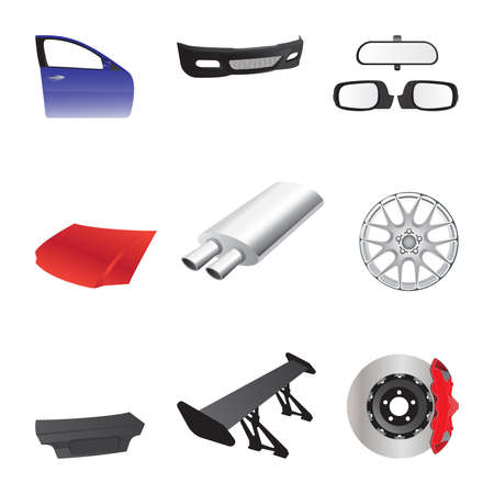 Car parts icons.