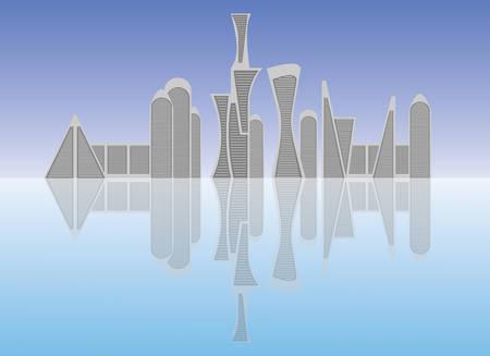 City scene flat illustration. Futuristic buildings design. Illustration