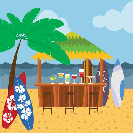 Cocktail bar on the beach scene. Background with cocktail bar, tree, surf boards, beach, sea and sky. Vector illustration.